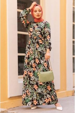 فستان بنقشة زهور ملونة