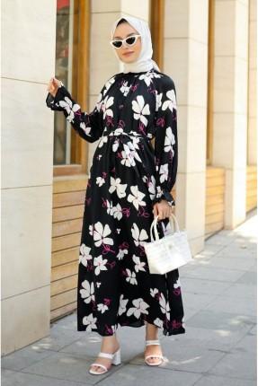 فستان بنقشة ورود - اسود