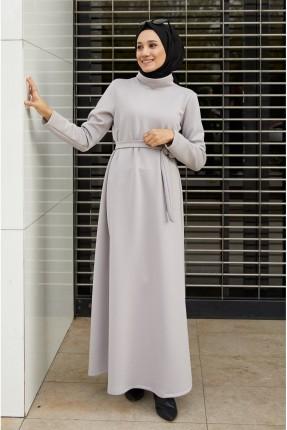 فستان سادة بياقة مرتفعة - رمادي