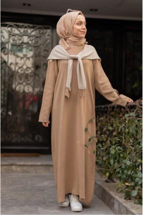 فستان باكمام طويلة سادة اللون