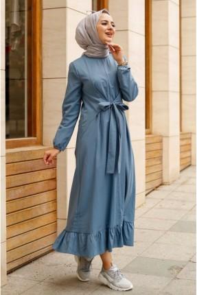 فستان باكمام طويلة بربطة على الخصر