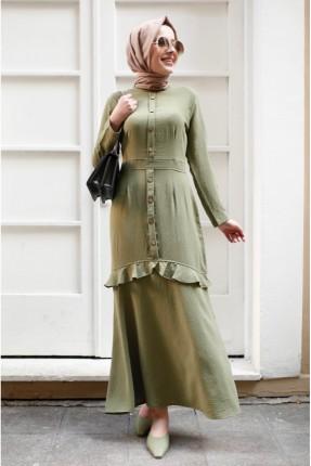فستان مزين بازرار - اخضر