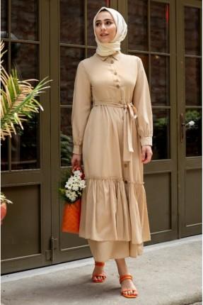 فستان مزين بازرار - بيج