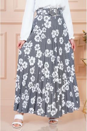 تنورة طويلة بنقشة زهور - رمادي