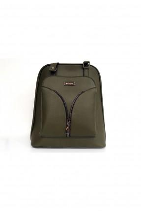 حقيبة ظهر نسائية بسحاب امامي - زيتي