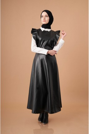 افرول موديل فستان نسائي مزين بكشكش