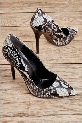 حذاء نسائي بنقشة جلد الثعبان - اسود
