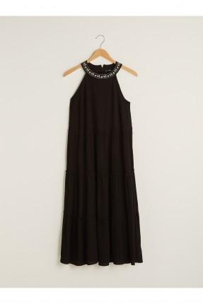 فستان مطرز الياقة - اسود