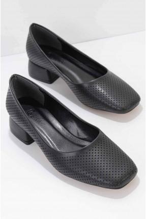 حذاء نسائي جلد بكعب قصير - اسود