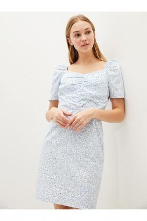 فستان بنقشة زهور - ازرق