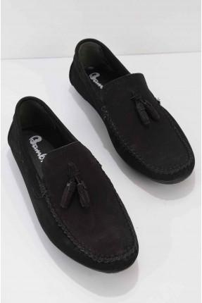 حذاء رجالي مزين بشراشيب - اسود