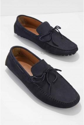 حذاء رجالي مزين بربطة - كحلي