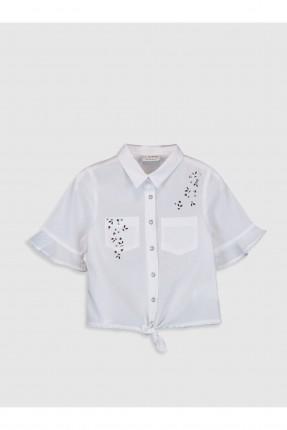 قميص اطفال بناتي بجيب - ابيض