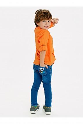 بنطال جينز اطفال ولادي مزين بخطوط ملونة على الخصر
