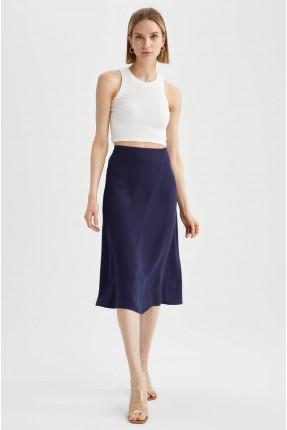 تنورة متوسطة الطول سادة اللون - كحلي