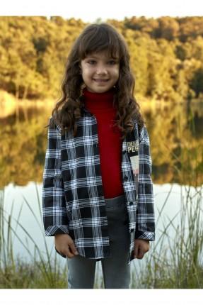 قميص اطفال بناتي كارو وبطبعة
