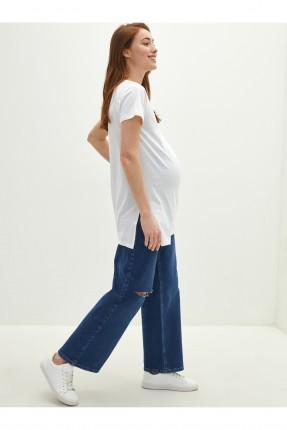 بنطال جينز حمل واسع الساقين مزين بشقوق