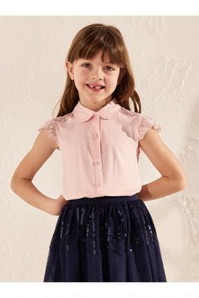 قميص اطفال بناتي مزين بالدانتيل - زهري