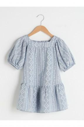 فستان بيبي بناتي بياقة مربعة