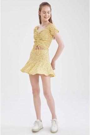 تنورة قصيرة بنقشة زهور - اصفر
