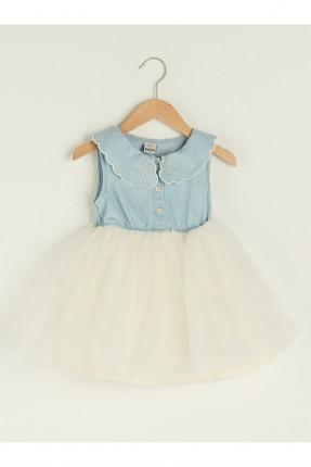 فستان بيبي بناتي بياقة مطرزة