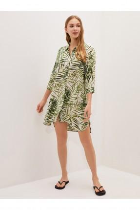 فستان للشاطى مزين برسمة ورق شجر