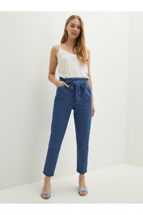 بنطال جينز نسائي بحزام ربط على الخصر