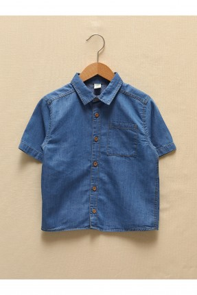 قميص بيبي ولادي جينز بازرار وبجيب