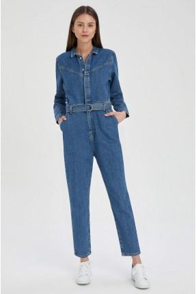 افرول جينز نسائي بحزام على الخصر