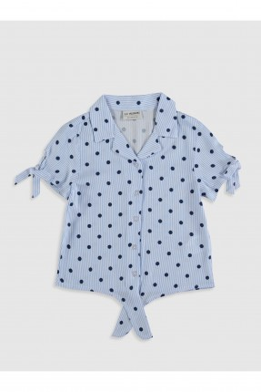 قميص اطفال بناتي منقط - ازرق