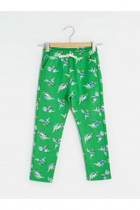 بنطال رياضة اطفال ولادي بطبعة ديناصورات - اخضر
