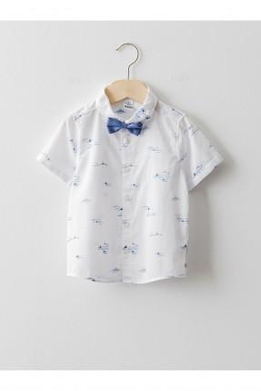 قميص بيبي ولادي بنقشة مع ببيونة - ابيض