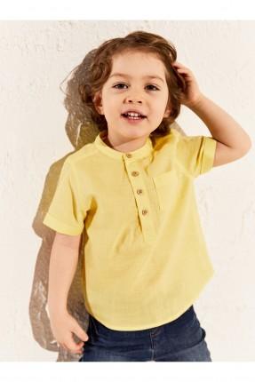 قميص بيبي ولادي بازرار سادة - اصفر