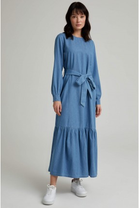 فستان جينز سادة اللون