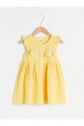 فستان بيبي بناتي بياقة مكشكشة - اصفر