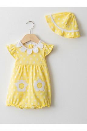 افرول بيبي بناتي حديث الولادة منقط مع قبعة - اصفر