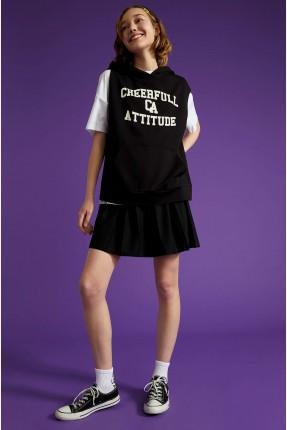 تنورة قصيرة بطيات - اسود