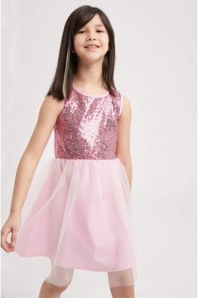 فستان اطفال بناتي مزين بالترتر