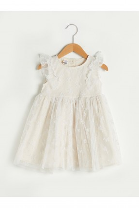 فستان بيبي بناتي تول بنمط مكشكش
