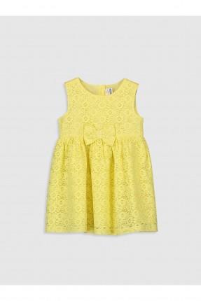 فستان بيبي بناتي مزين بفيونكة - اصفر