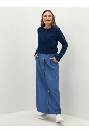 تنورة طويلة جينز مزينة بازرار
