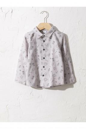 قميص بيبي ولادي بنقشة - رمادي