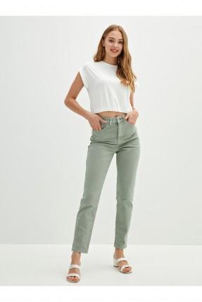 بنطال جينز نسائي سادة اللون - اخضر