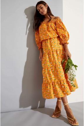 تنورة طويلة بنقشة زهور ملونة