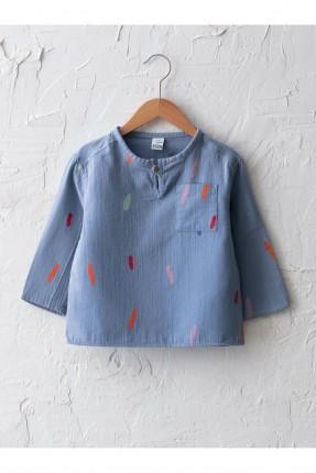 قميص بيبي ولادي بنقشة وبجيب - ازرق
