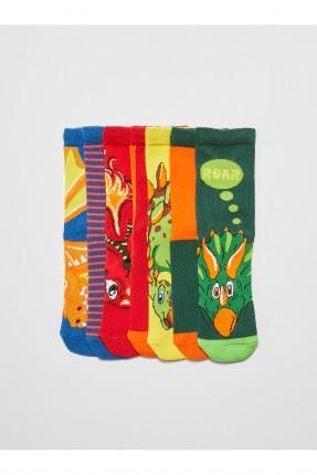 جوارب اطفال ولادي بنقشة ديناصور عدد 7