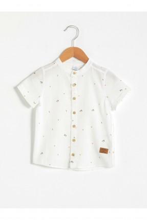 قميص بيبي ولادي بنقشة - ابيض
