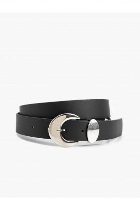 حزام نسائي جلد مزين بحلقة معدنية - اسود