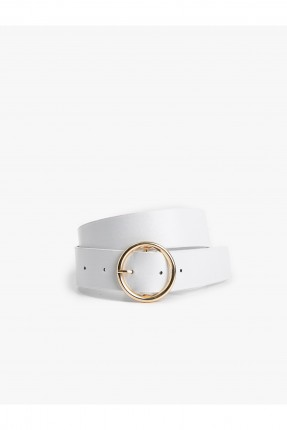 حزام نسائي جلد مزين بحلقة دائرية - ابيض