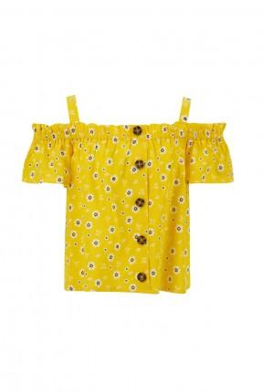 بلوز اطفال بناتي بنقشة ازهار مكشوف الكتف - اصفر